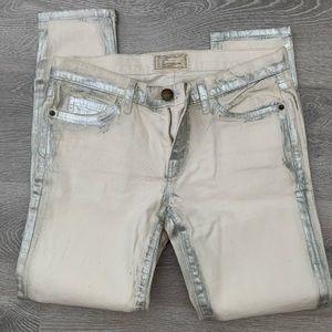 Current Elliott Silver Paint Jeans